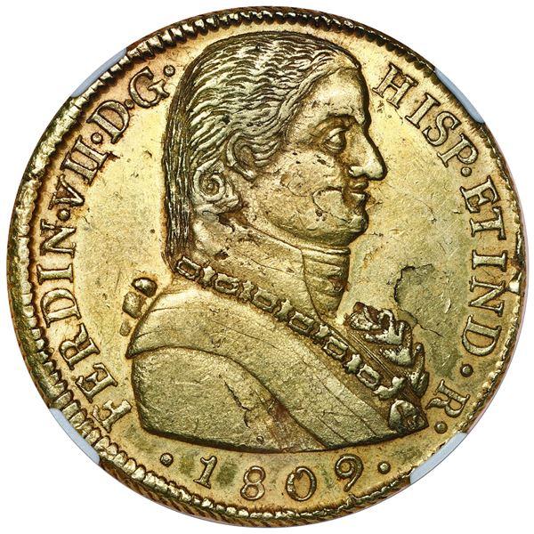 "Santiago, Chile, gold bust 8 escudos, Ferdinand VII transitional (""admiral"" bust), 1809 FJ, NGC AU 5"