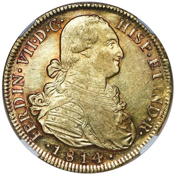 Santiago, Chile, gold bust 8 escudos, Ferdinand VII (bust of Charles IV), 1814 FJ, NGC AU 55..