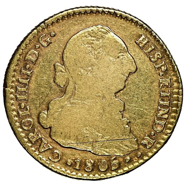 Santiago, Chile, gold bust 2 escudos, Charles IV (bust of Charles III), 1805 FJ, very rare, NGC F 15