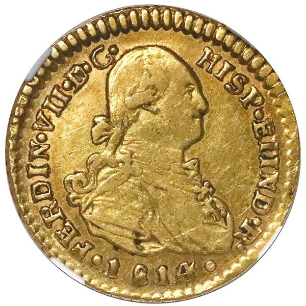 Santiago, Chile, bust 1 escudo, Ferdinand VII (bust of Charles IV), 1814 FJ, NGC XF 45.