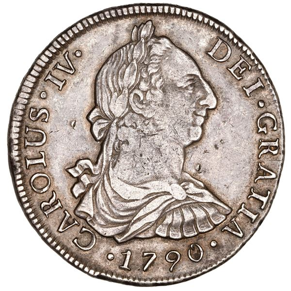 Santiago, Chile, bust 8 reales, Charles IV (bust of Charles III), 1790 DA, NGC XF 40.