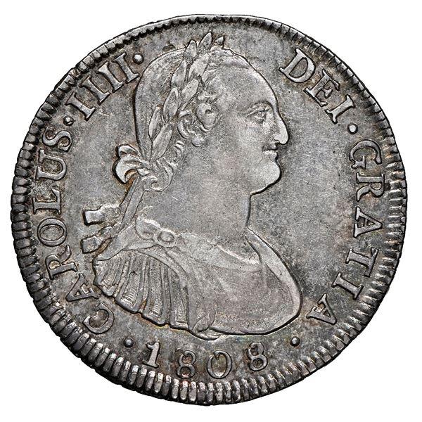 Santiago, Chile, bust 4 reales, Charles IV, 1808/7 FJ, NGC AU 55.