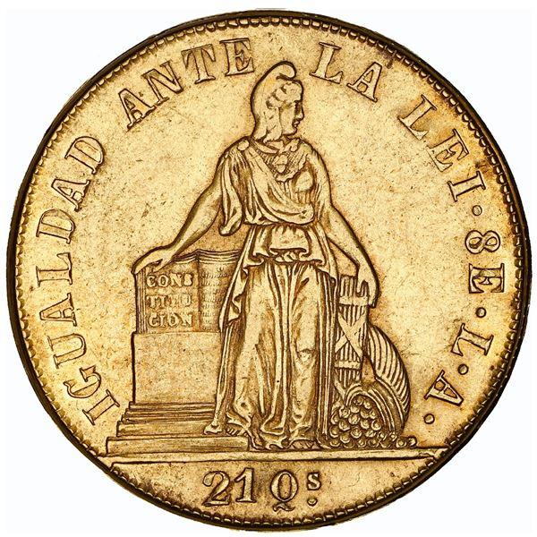 Santiago, Chile, gold 8 escudos, 1850 LA, MARZO on edge, NGC AU 53.