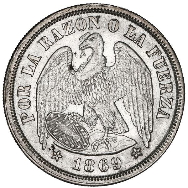Santiago, Chile, 1 peso, 1869, NGC MS 63.