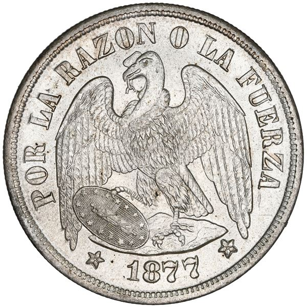 Santiago, Chile, 1 peso, 1877, MS 65+, finest known in NGC census.