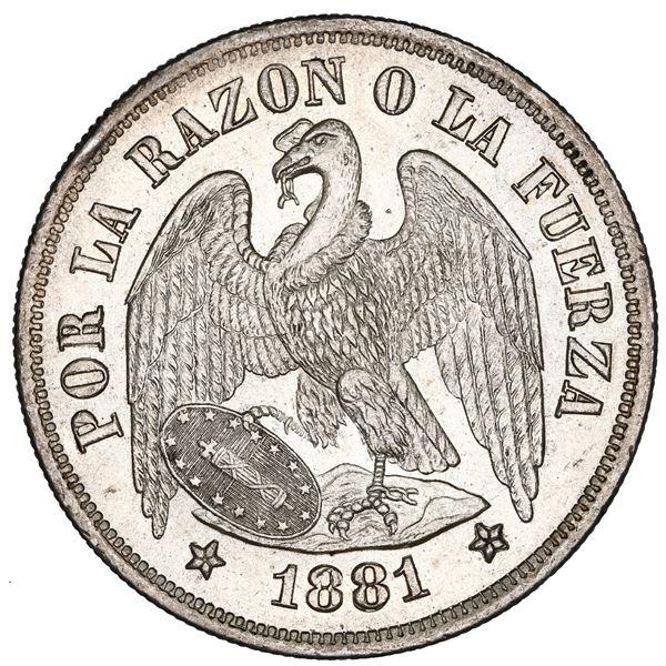Santiago, Chile, 1 peso, 1881, NGC MS 64.