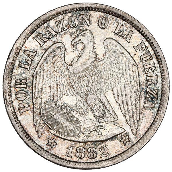 Santiago, Chile, 1 peso, 1882, NGC MS 63+.