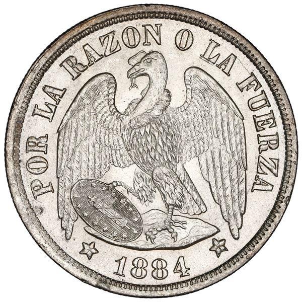 Santiago, Chile, 1 peso, 1884, NGC MS 64.
