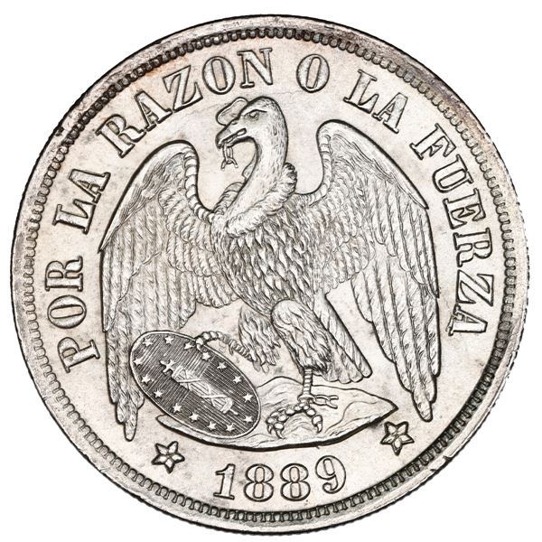 Santiago, Chile, 1 peso, 1889, NGC MS 64.