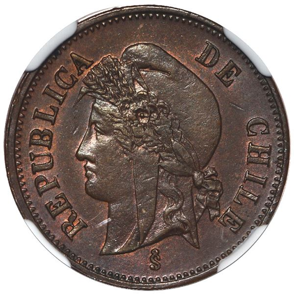 Santiago, Chile, copper 1 centavo, 1898/81, NGC MS 64 BN, finest known in NGC census.