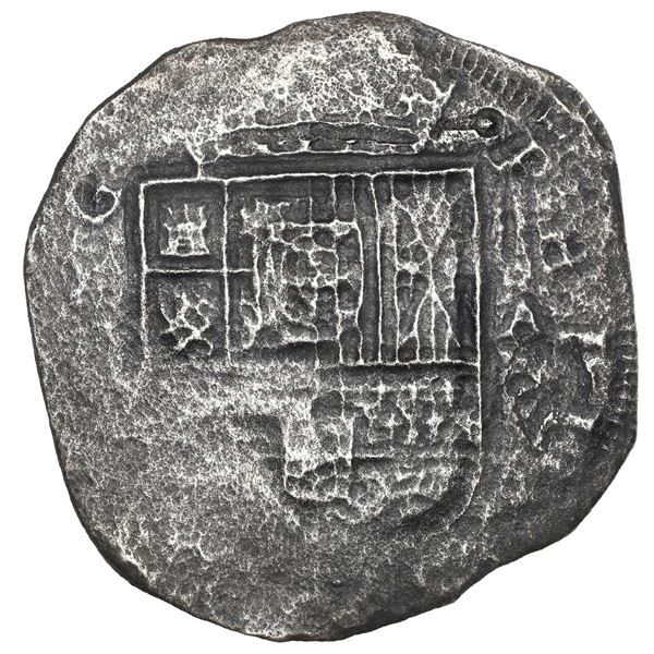 """Cartagena, Colombia, cob 8 reales, 1621, assayer A to right, mintmark RN to left, ex-""""Dry Tortugas w"""