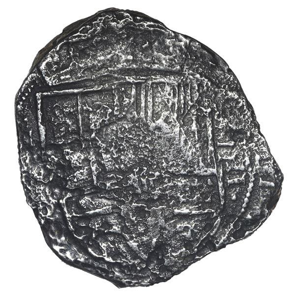 Bogota, Colombia, cob 8 reales, 1634 (?) (A), quadrants of cross transposed.