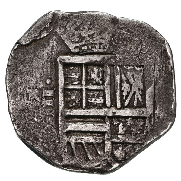 Bogota or Cartagena, Colombia, cob 4 reales, Philip IV, assayer not visible, mintmark RN to left out