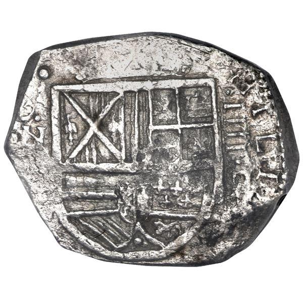 Bogota, Colombia, cob 4 reales, Philip IV, assayer P below denomination IIII to right, mintmark NR t