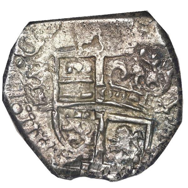 Bogota, Colombia, cob 1 real, 1653 R, mintmark N below P-LV-S, rare, NGC AU 53, ex-Eldorado and Nesm