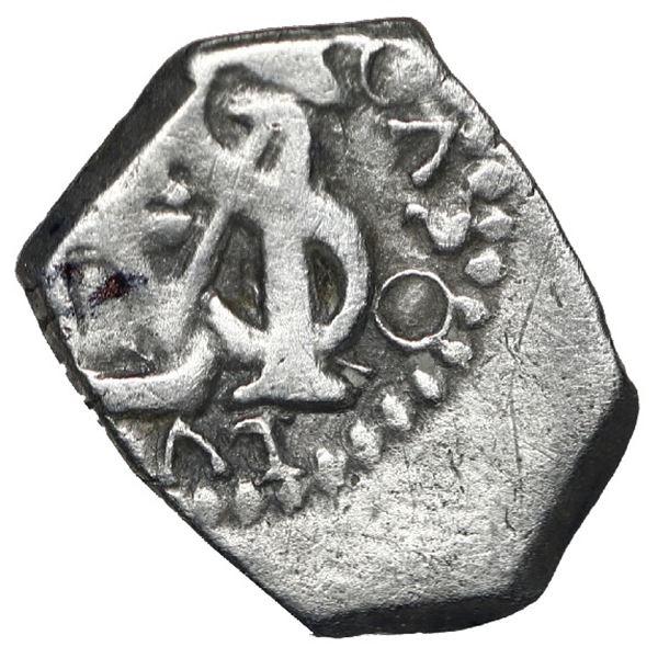 Bogota, Colombia, cob 1/2 real, no assayer (Arce), Charles II posthumous with Philip V monogram (170