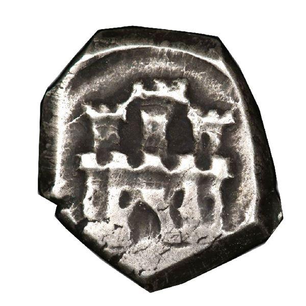 Bogota, Colombia, cob 1/4 real, Philip V, no assayer (1649-57), rare, PCGS VF30, finest and only exa