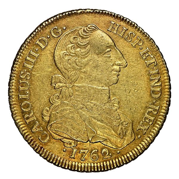 """Bogota, Colombia, gold bust 8 escudos, Charles III, """"rat nose,"""" 1762 JV, very rare, NGC AU 55 (fines"""