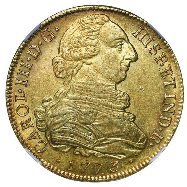 """Popayan, Colombia, gold bust 8 escudos, Charles III, 1773 JS, NGC MS 61 (""""top pop"""")."""