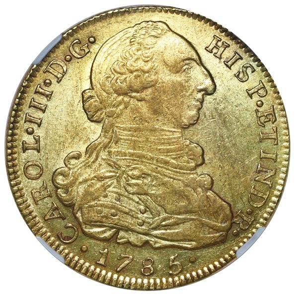 Bogota, Colombia, gold bust 8 escudos, Charles III, 1785 JJ, dot between J's, NGC AU 58.