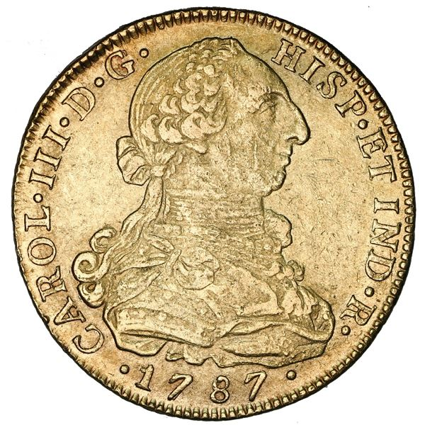 Bogota, Colombia, gold bust 8 escudos, Charles III, 1787JJ, dot between J's.