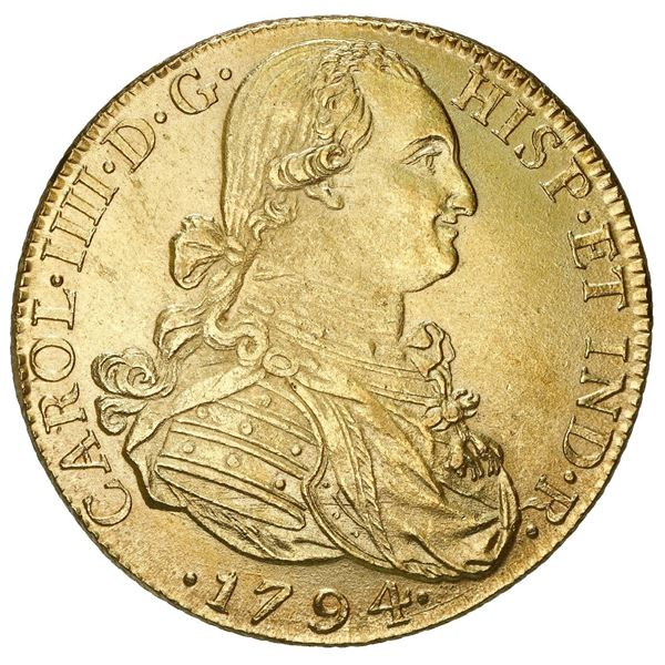 Bogota, Colombia, gold bust 8 escudos, Charles IV, 1794 JJ, two dots before assayers.
