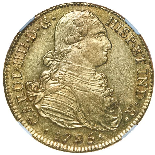 Popayan, Colombia, gold bust 8 escudos, Charles IV, 1795 JF, NGC AU 58.