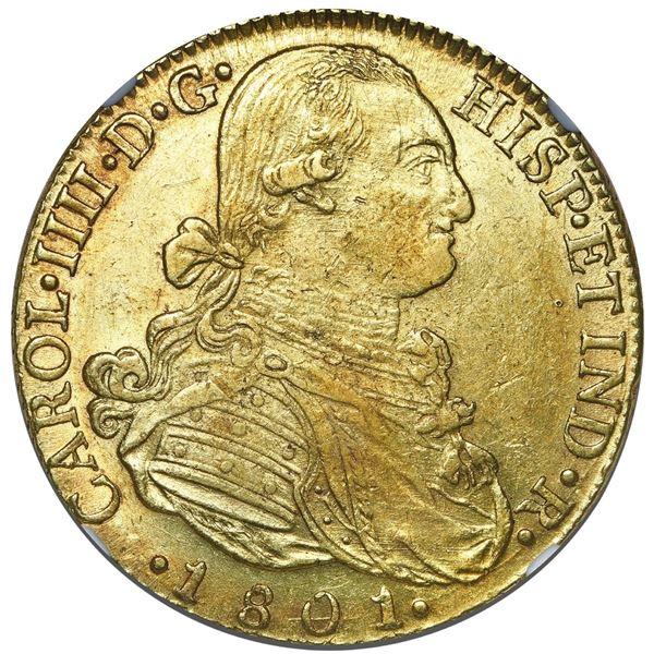 Bogota, Colombia, gold bust 8 escudos, Charles IV, 1801 JJ, NGC AU 58.