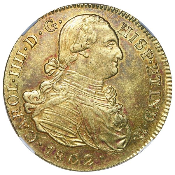 Popayan, Colombia, gold bust 8 escudos, Charles IV, 1802 JF, NGC MS 61.