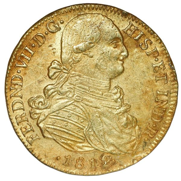 Bogota, Colombia, gold bust 8 escudos, Ferdinand VII (bust of Charles IV), 1812/1 JF.