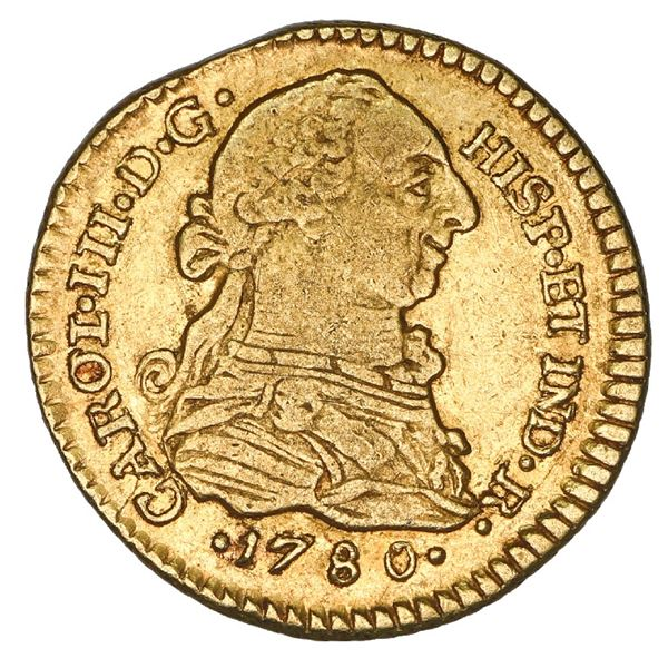 Popayan, Colombia, gold bust 1 escudo, Charles III, 1780 SF, 8/9 in date (unique).