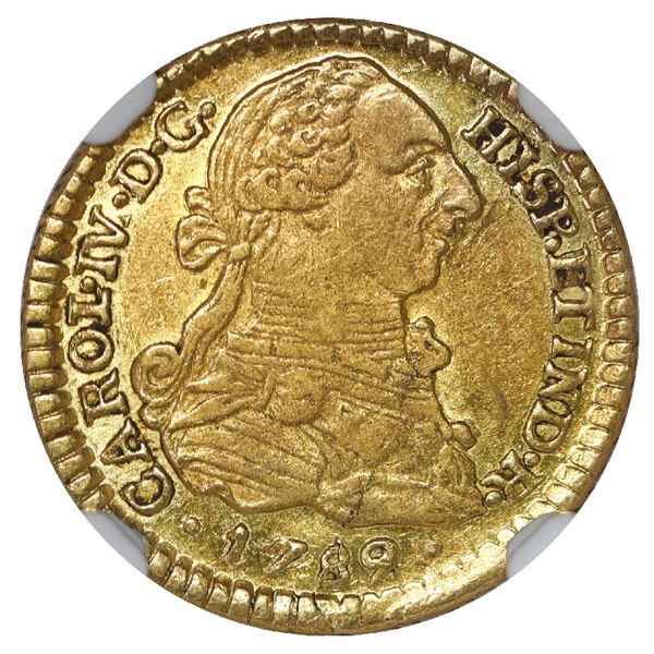 Popayan, Colombia, gold bust 1 escudo, Charles IV transitional (bust of Charles III, ordinal IV/III,
