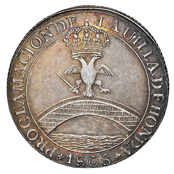 Honda, Colombia, 4 reales-sized proclamation medal, Ferdinand VII, 1808, corded edge, rare, NGC AU 5