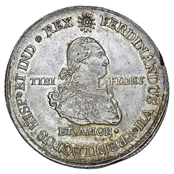 Popayan, Colombia, 4 reales-sized proclamation medal, Ferdinand VII (bust of Charles IV), corded edg