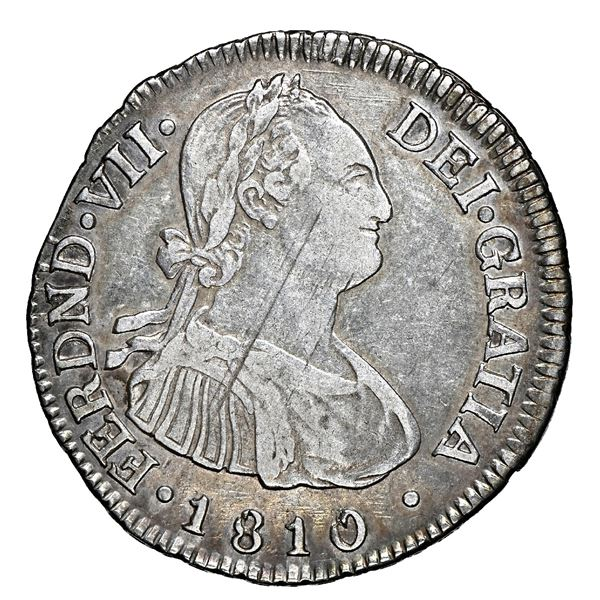 Popayan, Colombia, bust 2 reales, Ferdinand VII (bust of Charles IV), 1810 JF, NGC XF 45, finest kno