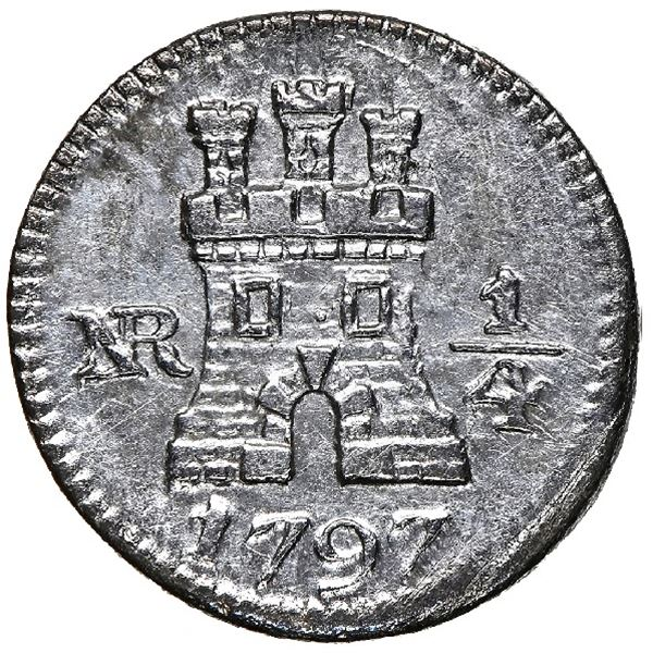 Bogota, Colombia, 1/4 real, 1797, NGC AU 53, finest and only example in NGC census.