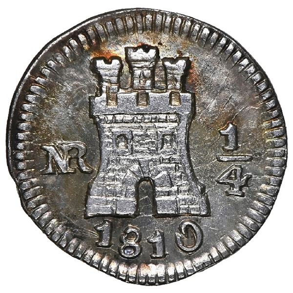 Bogota, Colombia, 1/4 real, 1810, curved date, NGC AU 55, finest and only example in NGC census.