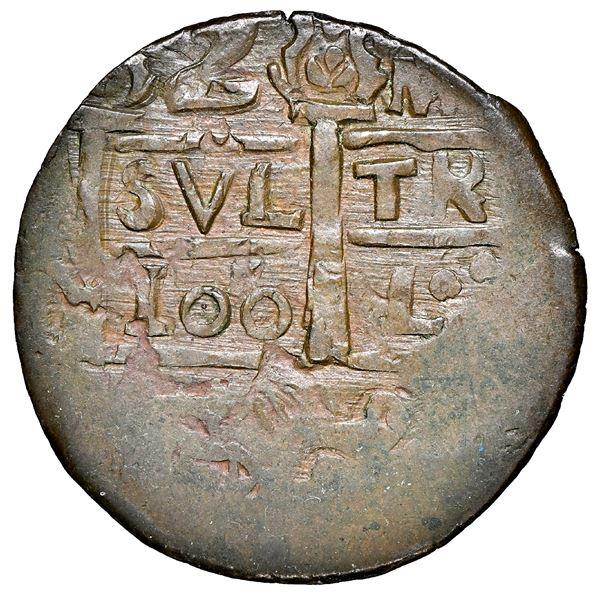 "Cartagena, Colombia, copper ""imitation cob"" 2 reales, fantasy date ""100"" (ca. 1815), struck over Sta"