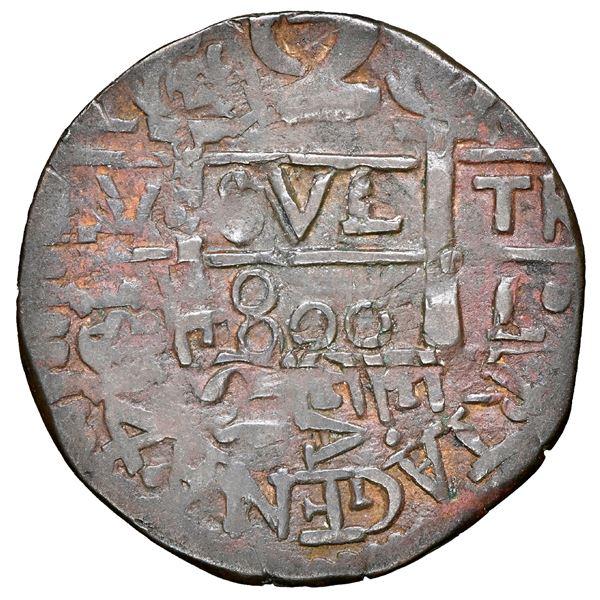 "Cartagena, Colombia, copper ""imitation cob"" 2 reales, fantasy date ""800"" (ca. 1815), struck over Sta"