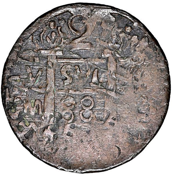 "Cartagena, Colombia, copper ""imitation cob"" 2 reales, fantasy date ""880"" (ca. 1815), struck over Sta"
