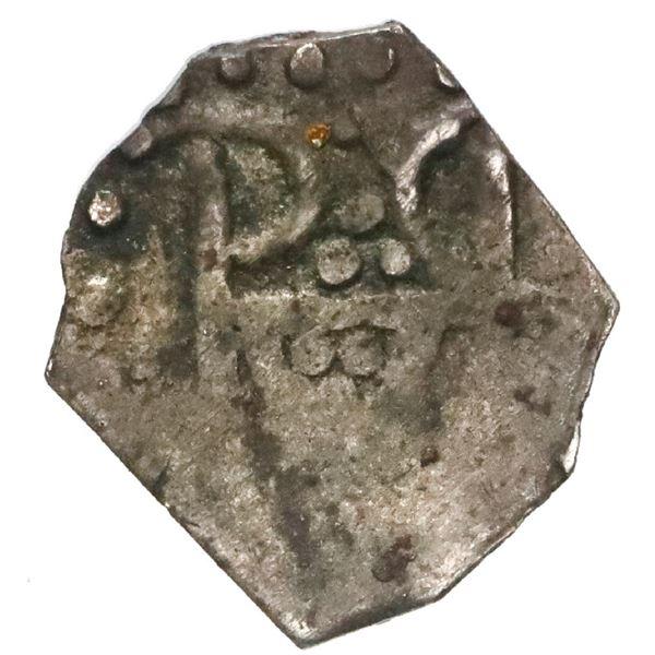 "Cartagena, Colombia, low-silver ""imitation cob"" 1/2 real, no date (ca. 1815), very rare."