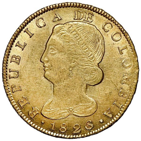 Popayan, Colombia, gold 8 escudos, 1826/1 FM, unique, NGC MS 62.