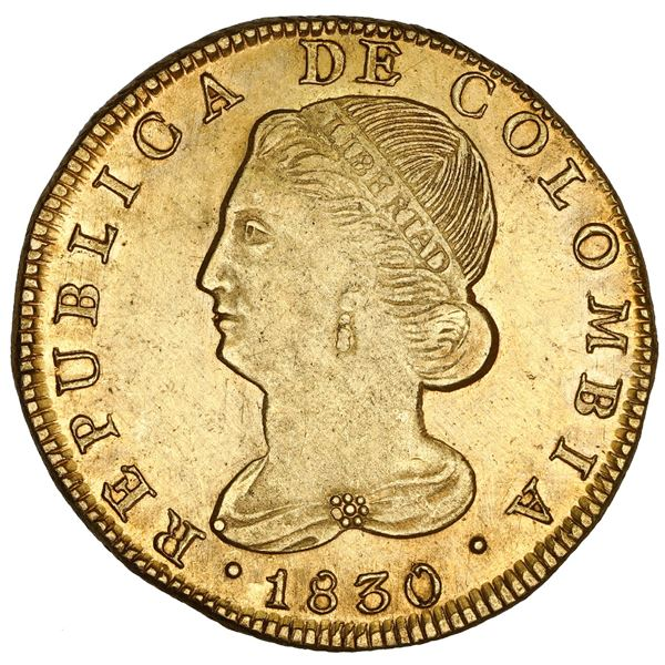 Popayan, Colombia, gold 8 escudos, 1830 FW, rare, NGC UNC details / harshly cleaned.
