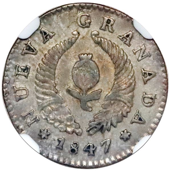 """Bogota, Colombia, 1 real, 1847, six-pointed stars, NGC AU 55 (""""top pop"""")."""