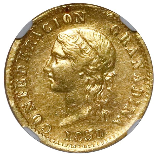 Popayan, Colombia, gold 2 pesos, 1859, NGC XF 45, ex-Frank Sedwick (stated on label).