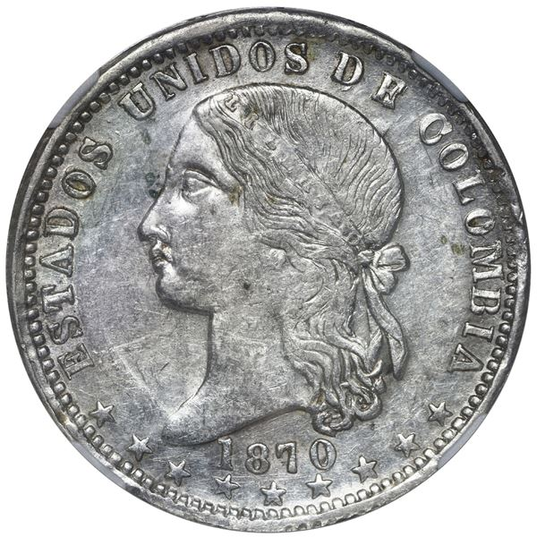 Medellin, Colombia, 1 peso, 1870/69, NGC XF 45.