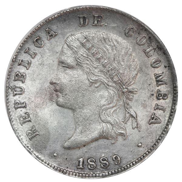 "Bogota, Colombia, 50 centavos, 1889, ball-tip 9, ANACS AU 58 (""top pop"")."