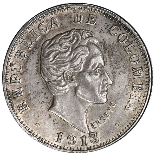 Medellin, Colombia, specimen piefort pattern 50 centavos, 1913, reeded edge, rare, PCGS SP 55, fines