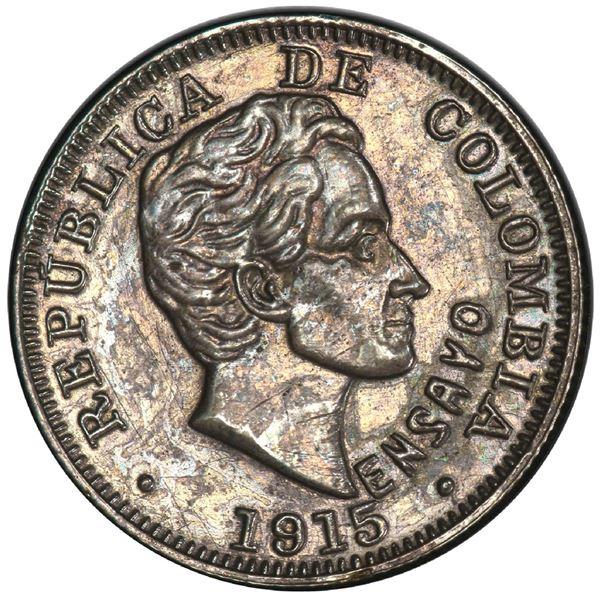 Medellin, Colombia, specimen piefort pattern 10 centavos, 1915, reeded edge, rare, PCGS SP 62, fines