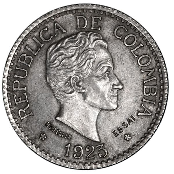 Medellin, Colombia (struck in Paris), silver specimen pattern (essai) for gold 5 pesos, 1923, reeded